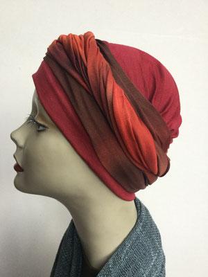 G 89b - Kopfbedeckungen kaufen - Seidenjersey-Foulard und Chäppli - elegant und klassisch - orange rostbraun