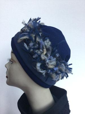 Wi 117 - Stirnband mit doppelter Baumwolle (Krempe) - jeansblau zottelig