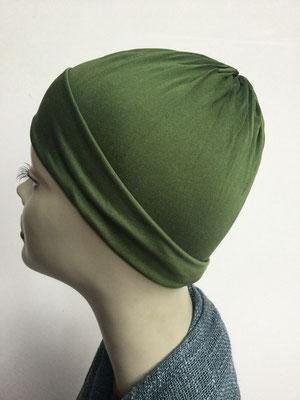 G79h - Kopfbedeckung kaufen - Seidenjersey-Chäppli fest - für Sie und Ihn - olivengrün