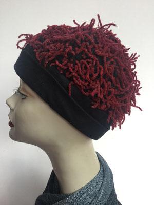 Wi 89c - Kopfbedeckung kaufen - Wintermodelle - Melone gehäkelt - vermicelles dunkelrot