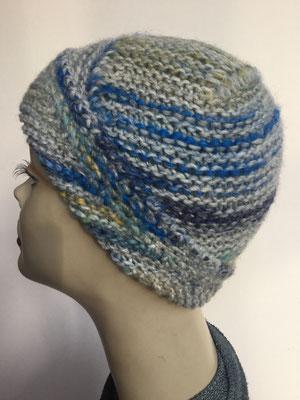 Wi 109a - High-Tech Supermodell  gestrickt - meliert blaugrau - Kopfbedeckung nach Chemo