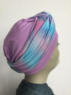 G 80 - Kopfbedeckungen kaufen - Seidenjersey-Foulard und Chäppli - elegant und klassisch - hellblau lila