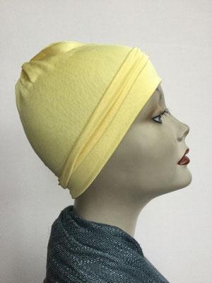 G73 - Kopfbedeckung kaufen - Seidenjersey-Chäppli fest - für Sie und Ihn - hellgelb