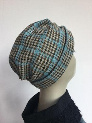 "Wi 39h - Turban ""Nizza"" ohne Schlaufe - Vintage, pied de poule - Kopfbedeckung kaufen"