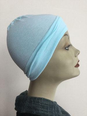G19g - Kopfbedeckungen nach Chemo - Baumwollchäppli fein - himmelblau