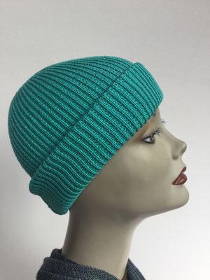 Wi 99 - Vreni Lorenzini - Kopfbedeckungen kaufen- Winterrmodelle - Melone gestrickt- tütkis