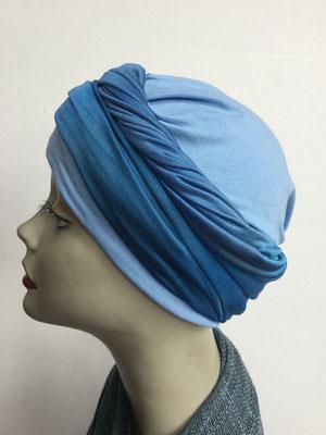 G 87 - Kopfbedeckungen kaufen - Seidenjersey-Foulard und Chäppli - elegant und klassisch - dunkelblau hellblau
