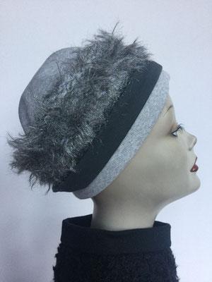 Wi 119 - Stirnband mit doppelter Baumwolle (Krempe) - grau-silber