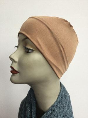 G79b - Kopfbedeckung kaufen - Seidenjersey-Chäppli fest - für Sie und Ihn - beige