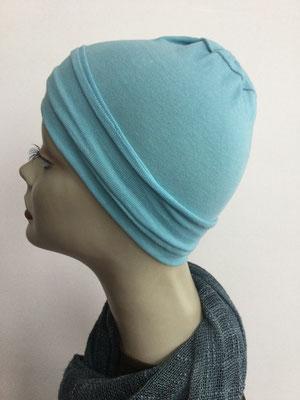 G19b - Kopfbedeckungen nach Chemo - Baumwollchäppli fein - helles Blau