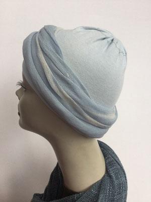 G39d - Kopfbedeckungen kaufen - Baumwollschlauch (Jersey) und Chäppli - hellblau Grau