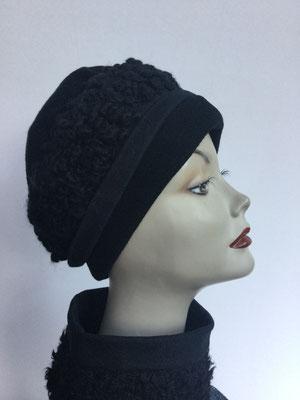 Wi 119c - Stirnband mit doppelter Baumwolle (Krempe) - schwarz