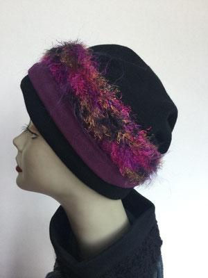 Wi 119n - Stirnband mit doppelter Baumwolle (Krempe) - multicolor fuchsia