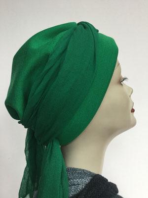 Wi 24 - Turban Nizza mit Schlaufe - kaltes Grün - Kopfbedeckungen nach Chemo