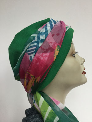 Wi 29a - Turban Nizza mit Schlaufe - grün mit farbiger Schlaufe - Kopfbedeckungen nach Chemo