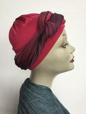 G 89c - Kopfbedeckungen kaufen - Seidenjersey-Foulard und Chäppli - elegant und klassisch - karminrot dunkelrot abstrakt