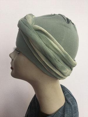 G39e - Kopfbedeckungen kaufen - Baumwollschlauch (Jersey) und Chäppli - helles Oliv
