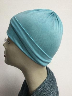 G71 - Kopfbedeckungen kaufen - Seidenjersey-Chäppli fest - für Sie und Ihn - helles Türkis