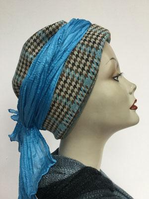 Wi 29d - Turban Nizza mit Schlaufe - vintage, pied de poule - Kopfbedeckungen nach Chemo