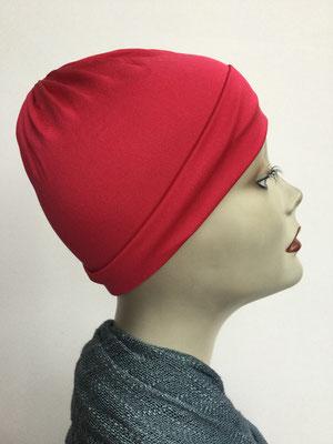 G79a - Kopfbedeckungen kaufen - Seidenjersey-Chäppli fest - für Sie und Ihn - rot