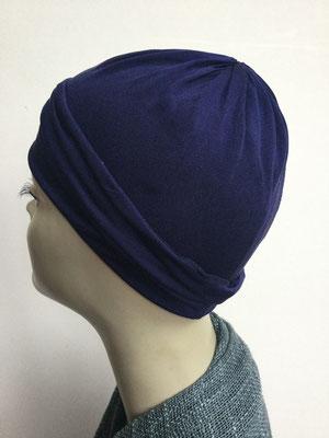 G79g - Kopfbedeckungen kaufen - Seidenjersey-Chäppli fest - für Sie und Ihn - dunkelblau