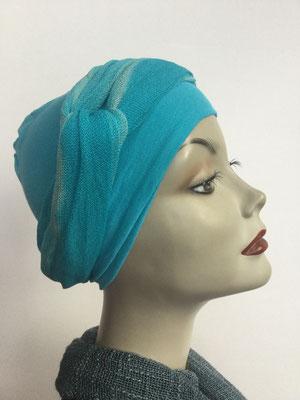 G39c - Kopfbedeckungen kaufen - Baumwollschlauch (Jersey) und Chäppli - türkis