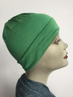 G79f - Kopfbedeckung kaufen - Seidenjersey-Chäppli fest - für Sie und Ihn - grasgrün