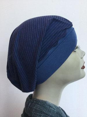 So 69r - Chemochäppli kaufen - Beanie  Schlumpfmütze einfach - dunkelblau mit schwarzem Streifen