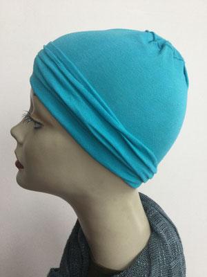 G16 - Kopfbedeckungen nach Chemo - Baumwollchäppli fein - türkis