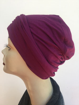 So 19a - Hutmodell Beanie (doppelte Stofflage) - bordeauxrot