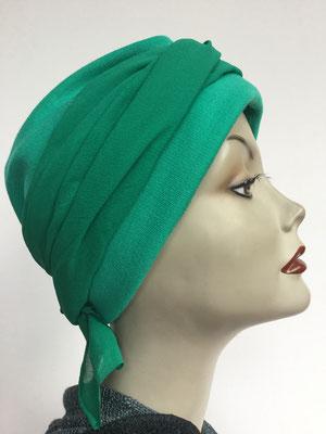 Wi 29f - Turban Nizza mit Schlaufe - kaltes grün - Kopfbedeckungen nach Chemo