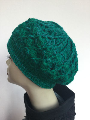 Wi 59k - Kopfbedeckungen nach Chemo - Winterrmodelle -  Artischocke gehäkelt - Flaschengrün