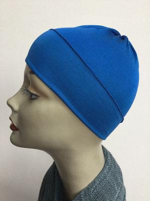 G79e - Kopfbedeckung kaufen - Seidenjersey-Chäppli fest - für Sie und Ihn - kobaltblau