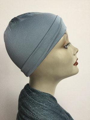 G79c - Kopfbedeckung kaufen - Seidenjersey-Chäppli fest - für Sie und Ihn - hellgrau