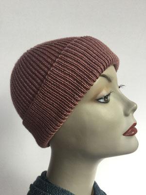 Wi 94 - Vreni Lorenzini - Kopfbedeckungen kaufen- Wintermodelle - Melone gestrickt - vieux rosé