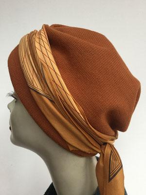Wi 29e - Turban Nizza mit Schlaufe - sienabraun mit beiger Schlaufe - Kopfbedeckungen nach Chemo
