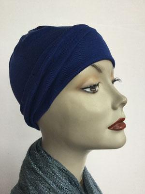 G70 - Kopfbedeckung kaufen - Seidenjersey-Chäppli fest - für Sie und Ihn - dunkelblau