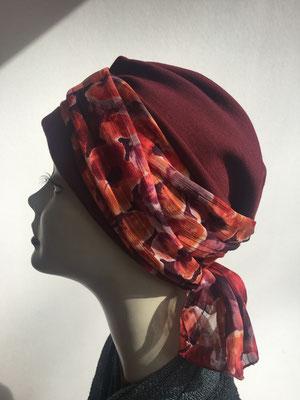 Wi 20 - Turban Nizza mit Schlaufe - Rottöne - Kopfbedeckungen nach Chemo