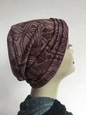 Wi 11 - Beanie genäht - braun gemustert- Kopfbedeckung kaufen -