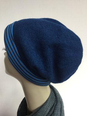 Wi 19e - Beanie genäht - blau mit hellblauen Streifen - Kopfbedeckung kaufen