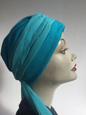 Wi 26 - Turban Nizza mit Schlaufe - türkis - Kopfbedeckungen nach Chemo