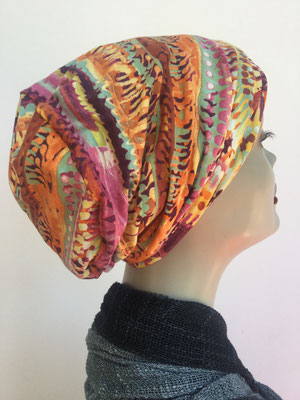 So 18 - Hutmodell Beanie (doppelte Stofflage) - multicolor gelb braun orange