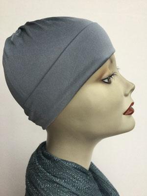 G79k - Kopfbedeckung kaufen - Seidenjersey-Chäppli fest - für Sie und Ihn - grau