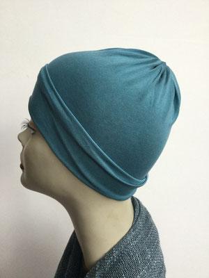 G79d - Kopfbedeckung kaufen - Seidenjersey-Chäppli fest - für Sie und Ihn - petrol