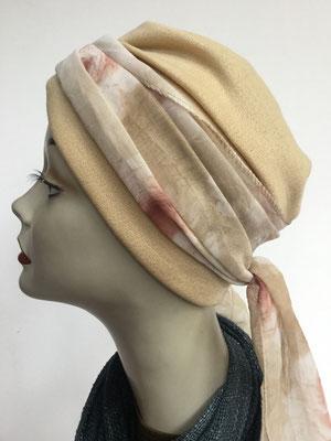 Wi 29h - Turban Nizza mit Schlaufe - beige mit Schlaufe - Kopfbedeckungen nach Chemo