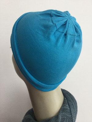 G19a - Kopfbedeckungen nach Chemo - Baumwollchäppli fein - kräftiges Blau