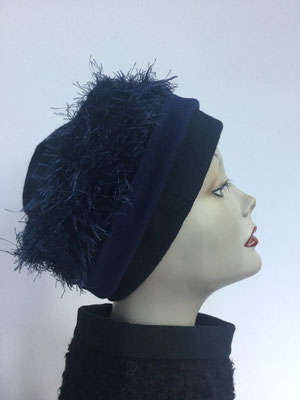 Wi 116 - Stirnband mit doppelter Baumwolle (Krempe) - dunkelblau