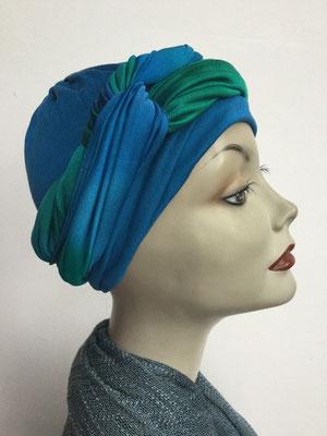 G 89g - Kopfbedeckungen kaufen - Seidenjersey-Foulard und Chäppli - elegant und klassisch - hellblau grün