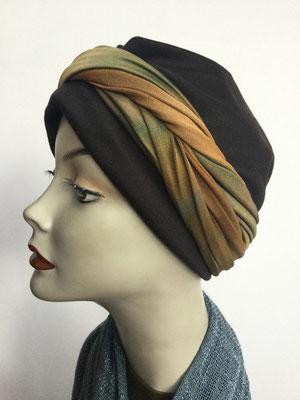 G 88 - Kopfbedeckungen kaufen - Seidenjersey-Foulard und Chäppli - elegant und klassisch - braungrün