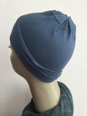 G12 - Kopfbedeckungen nach Chemo - Baumwollchäppli fein - blau